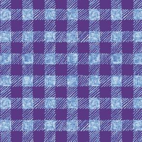 "5/8"" batik gingham - purple, light blue and white"