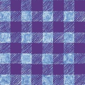 "1"" batik gingham - purple, blue and white"