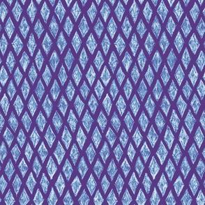 batik diamonds - white and blue on purple
