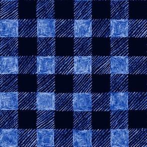 "1"" batik gingham - royal blue"