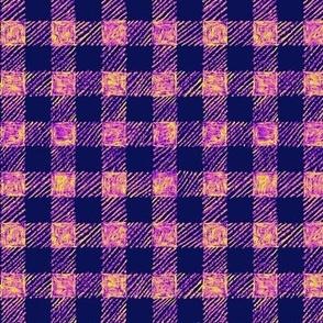 "5/8"" batik gingham - navy, purple, pink and yellow"