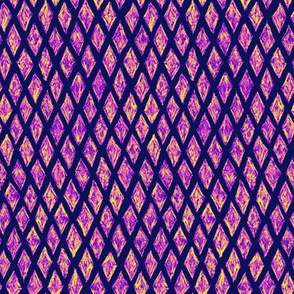 batik diamonds - purple, pink and yellow on dark blue