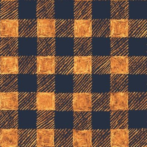 """1"""" batik gingham - navy, brown, copper, gold"""