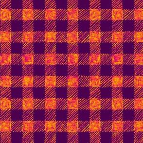 "5/8"" batik gingham - purple and orange"