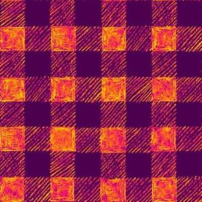 "1"" batik gingham - purple and orange"
