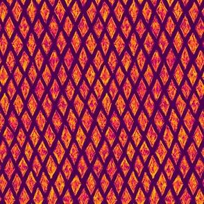 batik diamonds - orange on purple