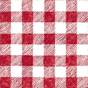 """1"""" crayon gingham in  cranberry red"""