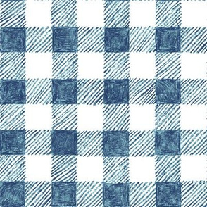 """1"""" crayon gingham in  navy and blue"""
