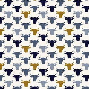 Cow Heads - Small - Indigo