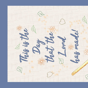 This is the day tea towel blue and orange