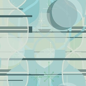 Exchequer Modern - Large Scale - calming retro-atomic geometric fiduciary-inspired hoity toity pastel blue waiting room fabric or wallpaper