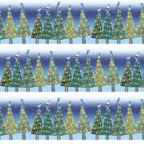 blue jays & Christmas trees