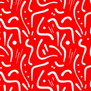 Abstract Tribal Lines - white on scarlet red, medium