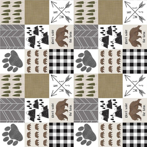 Bear wholecloth 3 inch, woodland wholecloth 3 inch, woodland cheater