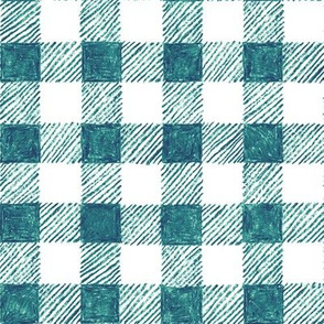 """1"""" crayon gingham in  teal"""