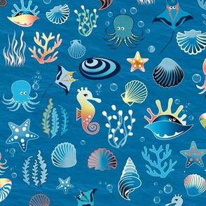 playful sea life on blue medium