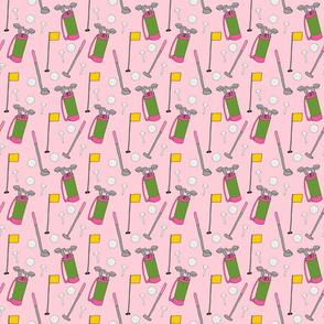 Ladies Golfing Pattern on Pastel Pink