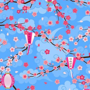 Japanese Cherry Blossoms Branches and Hanging Lanterns