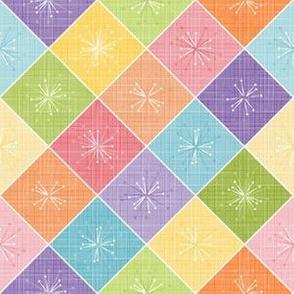 Atomic Age Starburst Check - Retro Pastel Rainbow