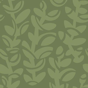 Midcentury Vines in Sage on Deep Sage