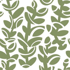 Midcentury Vines in Sage on White