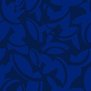 Midcentury Leaves in Blue and Navy