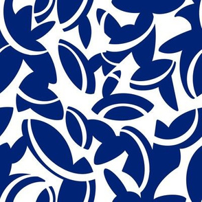 Midcentury Leaves in Blue and White