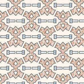 Curves and Bars in Terracotta and Linen - Small