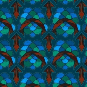 Abstract Electric Scallop in Red, Blue and Green - Small