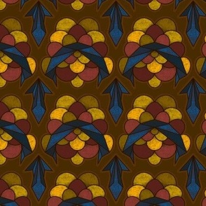 Abstract Electric Scallop in Brown, Yellow and Blue - Small