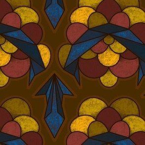 Abstract Electric Scallop in Brown, Yellow and Blue - Large