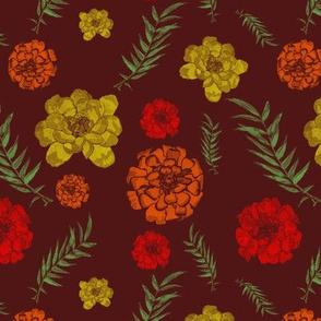 marigold toss on burgundy