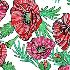 Red poppy fabric and wallpaper