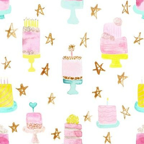 party cakes with gold stars