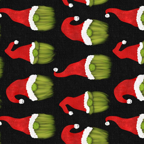Green Christmas Gnomes on Dark Grey Linen Rotated - large scale