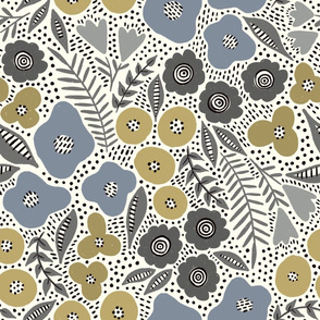 Maureen floral (blue and gold)