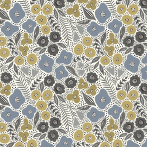 Maureen floral (blue and gold) (small scale)