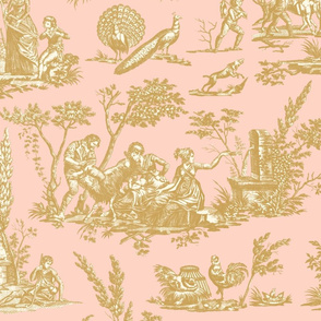 Marseilles Toile  ~ Faux Gilt on Cosmic Latte on Lauffer