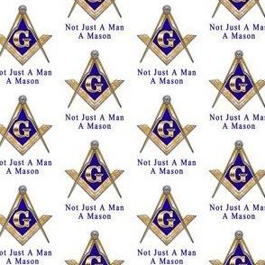 "Lg 2"" Not Just a Man a Mason Masonic Square Compass Gold White"