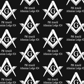"""Custom 2 Name Large 2"""" Black Large Masonic Square Compass. You must contact designer BEFORE you place your order. Fabric prints just like the preview shows."""