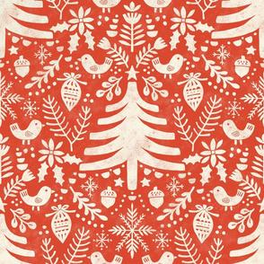 Folk Christmas tree red