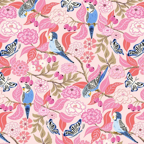 budgies and butterflies/pink coral
