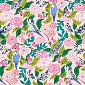 budgies and butterflies/pink green