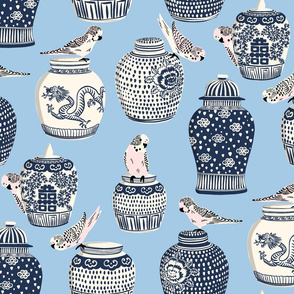 budgies and ginger jars/light blue