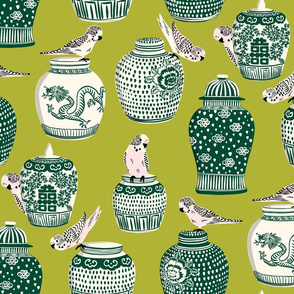 budgies and ginger jars/green