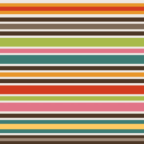 Retro Bohemian Mid Century Stripes //  Red, Orange, Yellow, Teal, Pink, Green, Light Khaki Tan