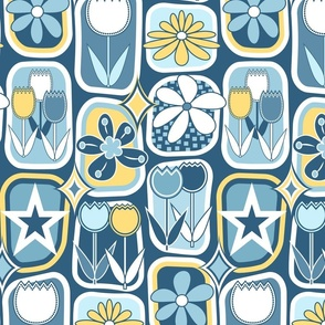Mid Century Modern Flowers // Tulips, Daisies, Stars // Slate Blue, Denim Blue, Yellow and White // V1