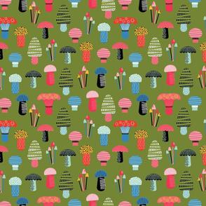 Happy Mushrooms-Green-Small