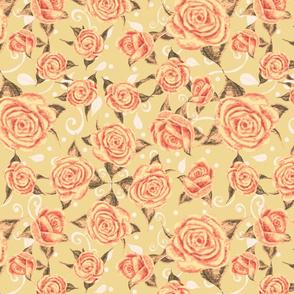 Vintage Tea Roses Light Yellow