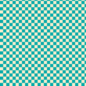 Checkers Teal and Cream